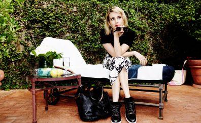 Emma Roberts, beautiful, actress, thinking