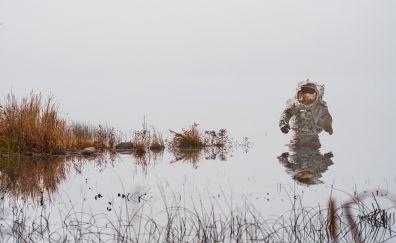 Astronaut, lake, reflection