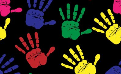 Hands, print, colorful, 4k