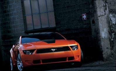 Ford Mustang, orange, muscle car, front view