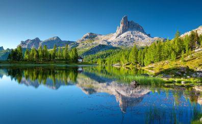 Lago Federa, dolomites, lake, mountains, reflections