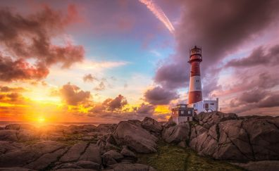 Rocks, clouds, sunset, lighthouse