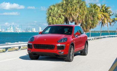Porsche cayenne, red car, front, 4k