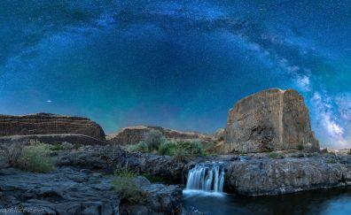 Milky way galaxy, mountains, night and waterfall