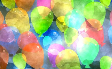 Watercolor paint balloons