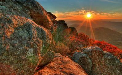 Beautiful sunrise mountain landscape