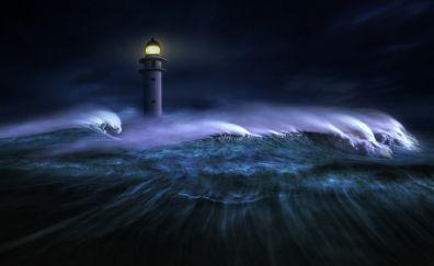 Lighthouse, big sea waves, night