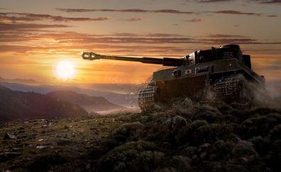 World of tanks video game, sunset, tank