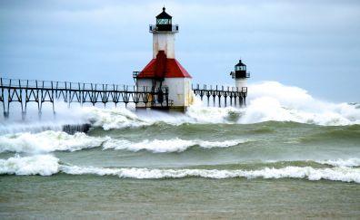 Pier Light, lighthouse, sea waves