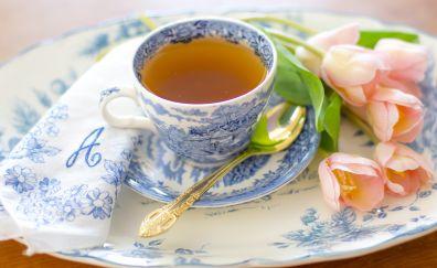 Tea cup, tulips, tea, spoon