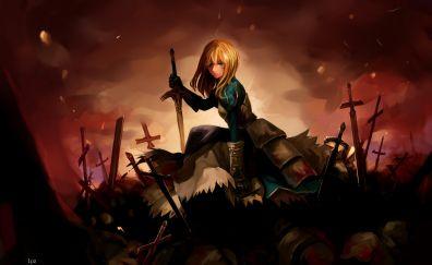 Saber, war field, anime girl, fate series, art
