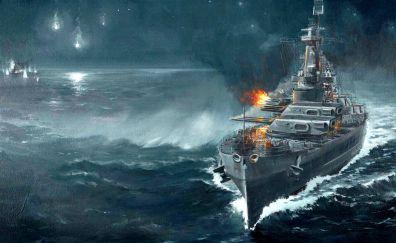 Warships in sea