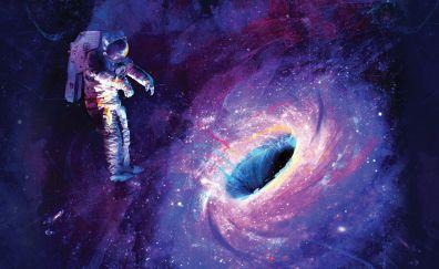 Astronaut artwork with black holes