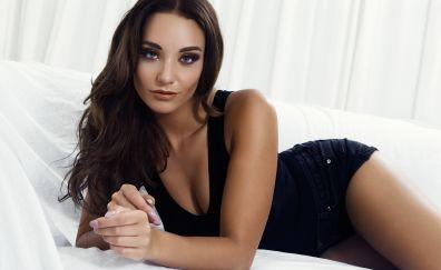 In bed, girl model, hot, stare