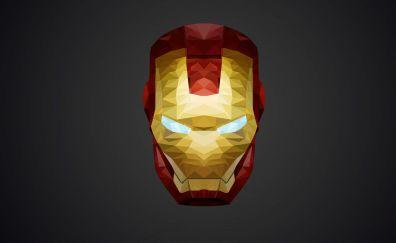 Iron man, helmet, low poly, minimal