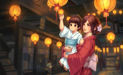 Child and mother, love, anime, original