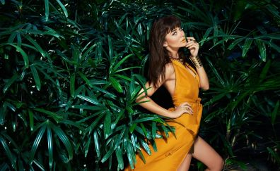 Amy jackson, orange dress, model, 2017