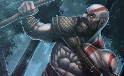 Kratos, warrior, art, god of war