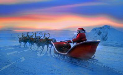 Santa and his reindeer, christmas, art