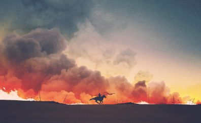 Game of thrones, TV show, fire, clouds, art