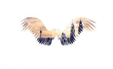 Wings, cityscape, minimal