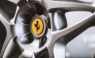 Ferrari, Car, wheel, logo, close up