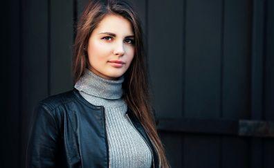Jacket, girl model, brunette, beautiful