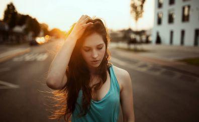 Janina knopf, brunette, model, sunlight