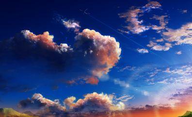 Anime, clouds, sky, nature, original