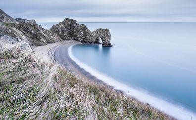 Durdle door, coast, grass, sea