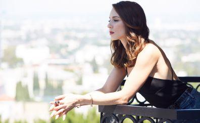 Troian Bellisario, celebrity, brunette, balcony