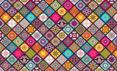 Floral design, pattern, squares, abstract