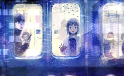 Girl in train, anime