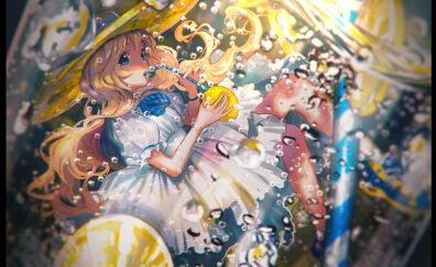 Drinks, anime girl, underwater, original