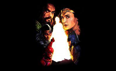 Justice league, superhero, batman, aquaman, wonder woman,  2017, minimal, 8k