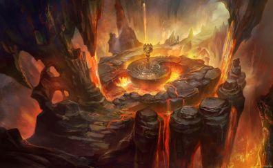 Warrior, volcano, fantasy, art