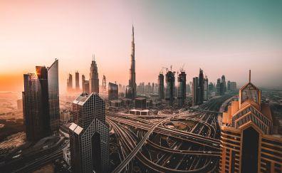 Dubai, skyline, cityscape, skyscrapers, buildings, burj khalifa