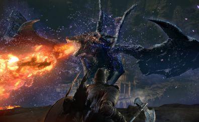 Dark Souls III, video game, fire, dragon, warrior