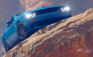 Dodge challenger, blue car, Forza Horizon 3, video game