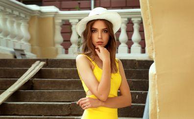 Yellow dress, beautiful, Ksenia kokoreva
