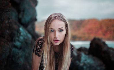 Maria Puchnina, blonde, girl model, outdoor