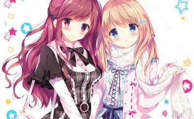Cute, long hair, anime girls, friends