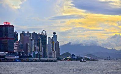 Hong kong, buildings, city, sea, clouds