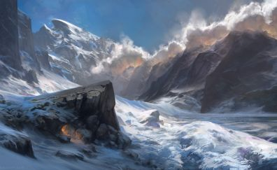 Mountains, snow, winter, nature, art