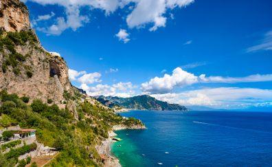 Mountains, beach, coastal city, Amalfi, town, city