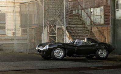 Jaguar D-type, 1956, black classic car