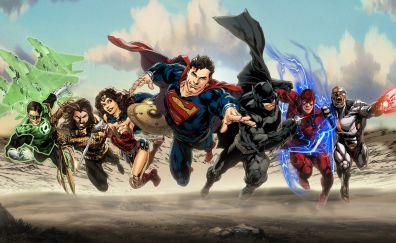 Justice league, superman, batman, wonder woman, superheroes, art