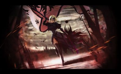 Battleground, anime girl, Saber, alter, 4k