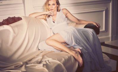 Diane Kruger, stare, sofa, white dress