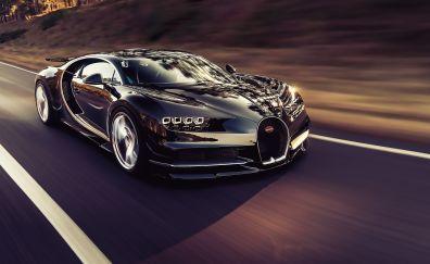Luxury car, bugatti chiron, on road, 4k